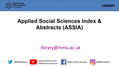 Thumbnail for entry Applied Social Sciences Index and Abstracts (ASSIA)