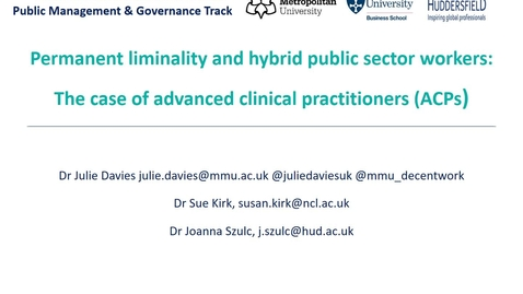 Thumbnail for entry DAVIES KIRK SZULC British Academy of Management 2020 Conference Presentation