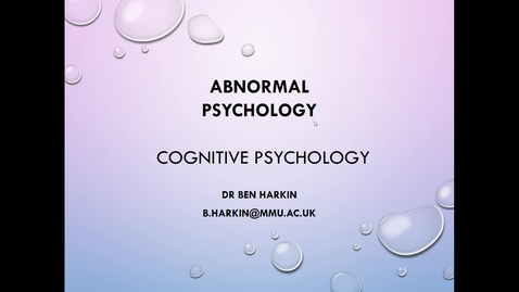 Thumbnail for entry Abnormal Psychology - Cog - Intro - L5