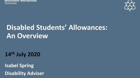 Thumbnail for entry Disabled Students' Allowances