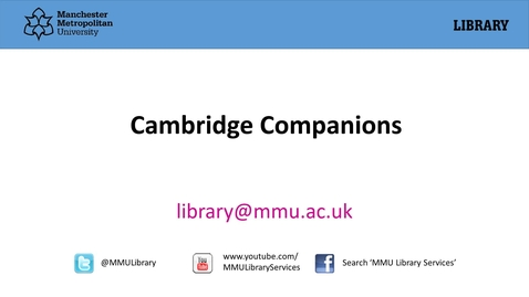 Thumbnail for entry Cambridge Companions