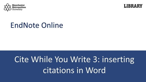 Thumbnail for entry Cite While You Write 3: inserting citations in Word