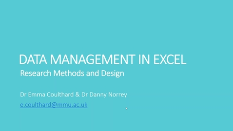 Thumbnail for entry Data Management in Excel