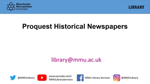 Thumbnail for entry Proquest Historical Newspapers