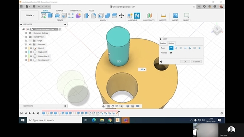 Thumbnail for entry Clip of 6ABM7143 - Fusion 360 - Joints and assemblies - Onboarding exercise