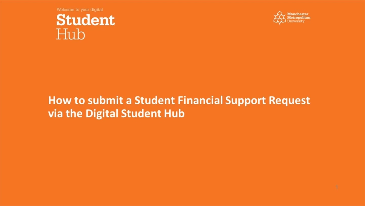 SRM Student Financial Support -  How to submit a Student Financial Support request via the Digital Student Hub