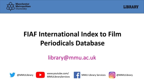 Thumbnail for entry FIAF International Index to Film Periodicals Database