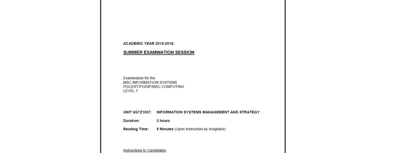 Information Systems Management and Strategy - Example Exam Question (stakeholders/value chain)