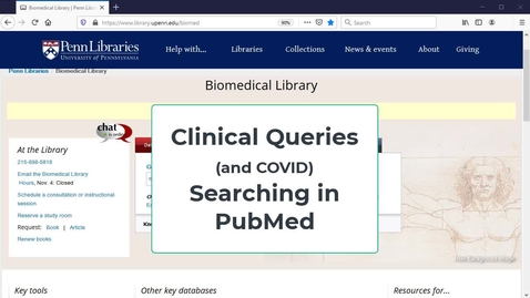 Thumbnail for entry Pubmed: Clinical Queries Interface