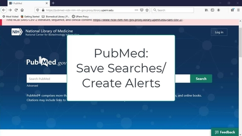 Thumbnail for entry PubMed: Save Searches/Create Alerts