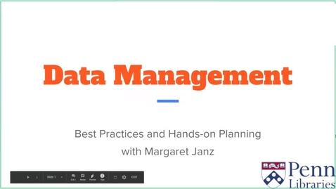 Thumbnail for entry Data Management - Summer Workshop Series