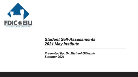 Thumbnail for entry Student Self-Assessments