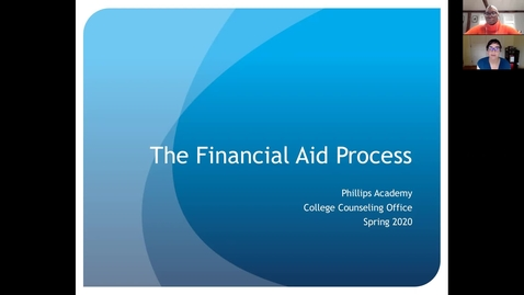 Thumbnail for entry Financial Aid Virtual Spring Meeting
