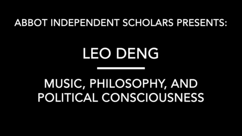 Thumbnail for entry Music, Philosophy, Political Consciousness by Leo Deng