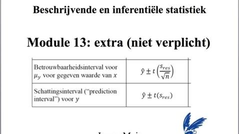 Thumbnail for entry 13.3 Schattingsinterval en betrouwbaarheidsinterval voor de geschatte y (bij een bepaalde x)