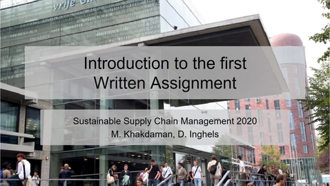 Thumbnail for entry Introduction to the first assignment_SSCM 2020.mp4