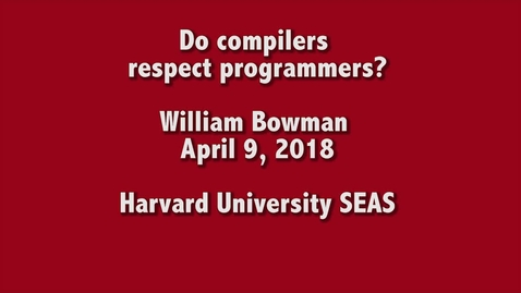 Thumbnail for entry CS Colloquium William Bowman 2018-04-09