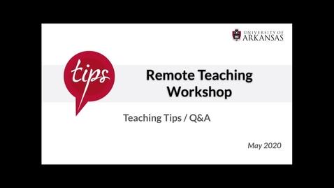 Thumbnail for entry Teaching Tips   QnA