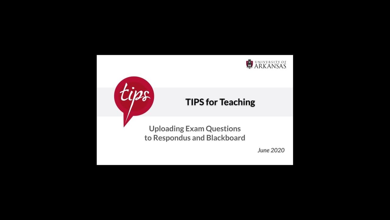 Uploading Exam Questions to Respondus + Blackboard
