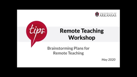 Thumbnail for entry Brainstorming Plans for Remote Teaching