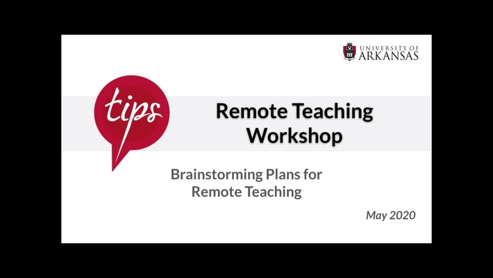 Brainstorming Plans for Remote Teaching