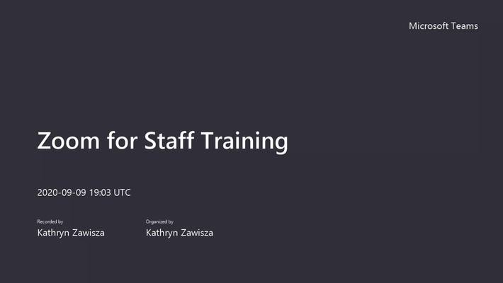 Zoom for Staff Training