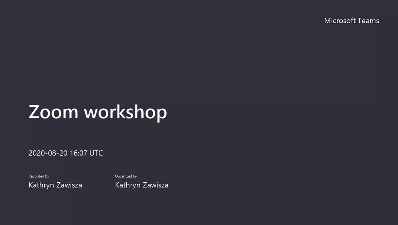 Zoom workshop, August 2020