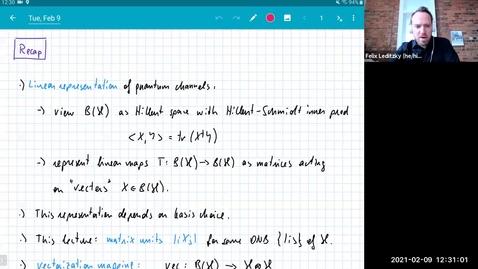 Thumbnail for entry MATH 595 Quantum channels I: Tuesday, Feb 9
