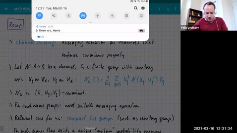 Thumbnail for entry MATH 595 Quantum channels I: Tuesday, Mar 16