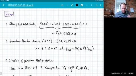Thumbnail for entry MATH 595 Quantum channels II: Monday, May 10 - Part 2