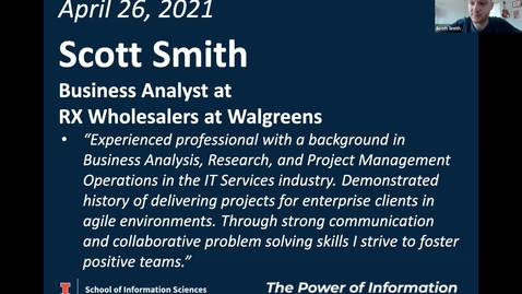 Thumbnail for entry BSIS Career Speaker: Scott Smith, Business Analyst, Rx Wholesalers at Walgreens