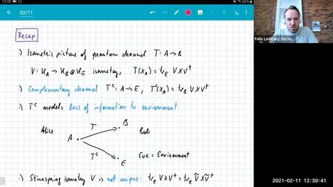Thumbnail for entry MATH 595 Quantum channels I: Thursday, Feb 11