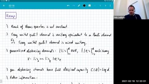 Thumbnail for entry MATH 595 Quantum channels I: Thursday, Feb 18