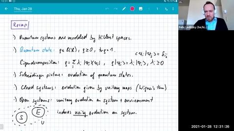 Thumbnail for entry MATH 595 Quantum channels I: Thursday, Jan 28