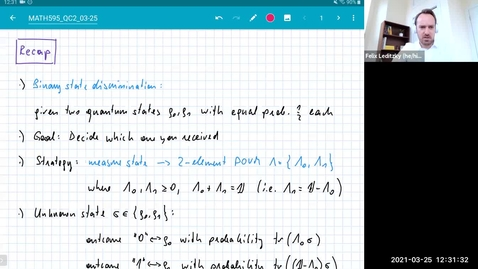 Thumbnail for entry MATH 595 Quantum channels II: Thursday, March 25