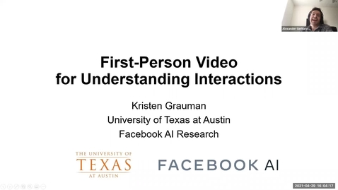 Thumbnail for entry Colloquium: First-Person Video for Understanding Interactions