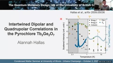 Thumbnail for entry Condensed Matter Seminar - Alannah Hallas, University of British Columbia