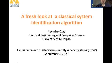 Thumbnail for entry A fresh look at a classical system identification method; Necmiye Ozay, IDS2 seminar series
