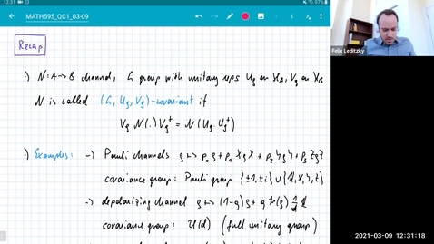 Thumbnail for entry MATH 595 Quantum channels I: Tuesday, Mar 9