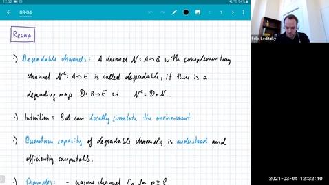Thumbnail for entry MATH 595 Quantum channels I: Thursday, Mar 4