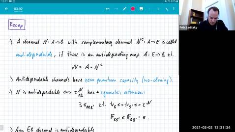 Thumbnail for entry MATH 595 Quantum channels I: Tuesday, Mar 2
