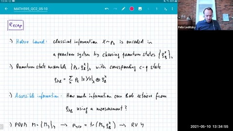 Thumbnail for entry MATH 595 Quantum channels II: Monday, May 10 - Part 1