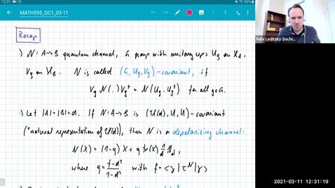 Thumbnail for entry MATH 595 Quantum channels I: Thursday, Mar 11