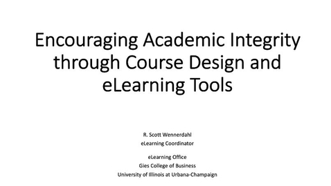 Thumbnail for entry eLearning Seminar - Academic Integrity Strategies and Tools