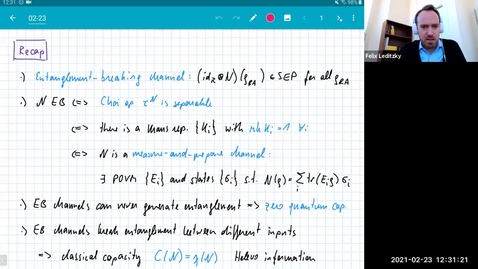 Thumbnail for entry MATH 595 Quantum channels I: Tuesday, Feb 23