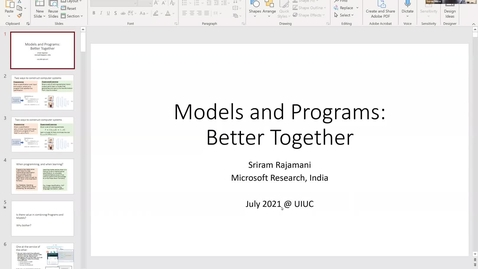 Thumbnail for entry Talk by Sriram Rajamani (Friday 11 am) Models and Programs: Better Together + Update on Microsoft Research India