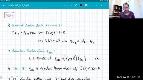 Thumbnail for entry MATH 595 Quantum channels II: Tuesday, April 27