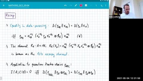 Thumbnail for entry MATH 595 Quantum channels II: Tuesday, May 4