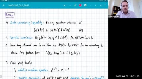 Thumbnail for entry MATH 595 Quantum channels II: Thursday, April 8
