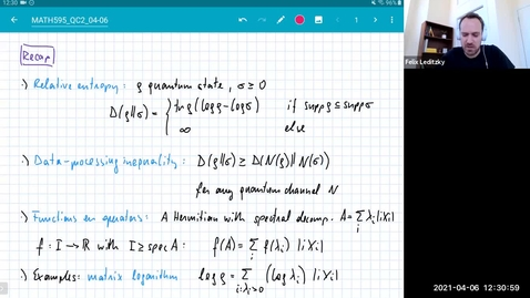 Thumbnail for entry MATH 595 Quantum channels II: Tuesday, April 6